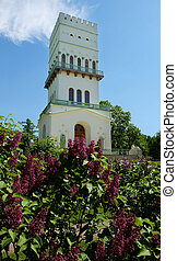 Pavilion White Tower, Russia - Vertical photo of pavilion...