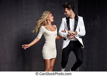 Joyful couple enjoying the spare time - Joyful and relaxed...