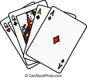 Poker two pair - Hand funny drawing of two pair