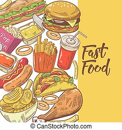 Fast Food Hand Drawn Design with Burger, Fries and Sandwich....