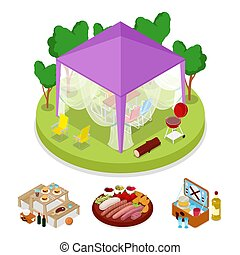 Isometric BBQ Picnic Party in Tent. Summer Holiday Camp....