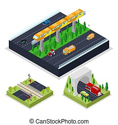 Isometric Urban Road with Modern Railway. City Traffic....