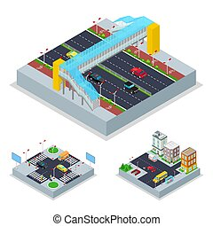 Isometric Urban Road with Crosswalk and Buildings. City...