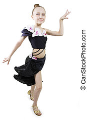 Little girl dancing - Little girl dancing to a white...