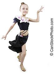 Little girl dancing. - Little girl dancing to a white...