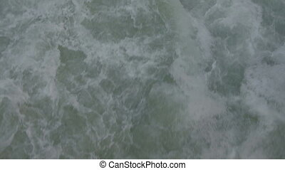 Close-up shooting water traveling by boat outdoors on fresh...