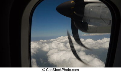 View from an airplane window. - View through an airplane...