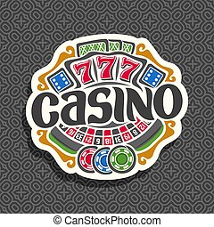 Vector logo for Casino: gambling sign with roulette wheel,...