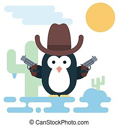 Flat penguin character stylized as a cowboy with revolvers and hat.