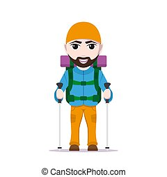 Hiking tourist man - picture of cartoon traveler with large...
