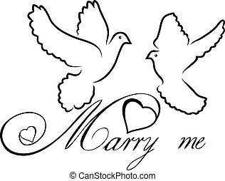 marry me note - vector marry me doves
