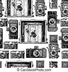 Seamless pattern with photo cameras. Vector illustration in...