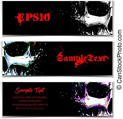 Skull Artistic Splatter Banners Black Sky Blue Purple