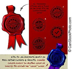 Wax Seal - Quality Product - Vector Illustration of a wax...