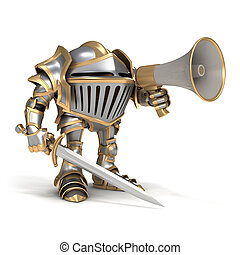 Knight with megaphone - Cartoon knight gnome. The isolated...