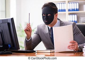 hombre de negocios, concepto, máscara, oficina, hipocrecia