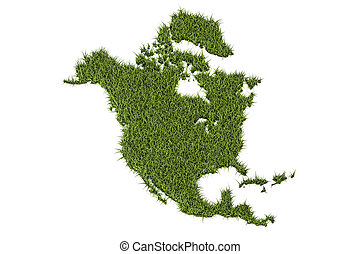 North America map from green grass, 3D rendering - North...