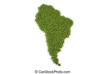 South America map from green grass, 3D rendering - South...