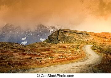 Road to Cuernos del Paine - Gravel road in Torres del Paine...