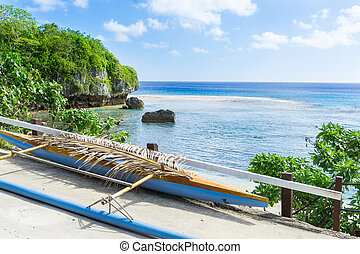 Out-rigger canoe under palm frond. - Out-rigger canoe under...