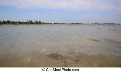Lake with clear water - Clean water in the lake. Transparent...