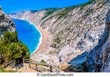 Famous Platia Ammos beach in Kefalonia island, Greece. The beach was affected by the earthquake in the spring of 2014 and it is very difficult to go down on the beach
