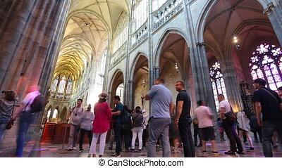 PRAGUE - JUNE 14: Time lapse shot Inside the St. Vitus...