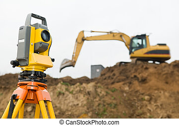 Surveyor theodolite on tripod - Surveyor equipment...