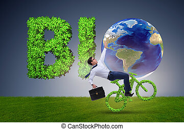 Green bycycle in environmentally friendly transportation...