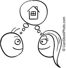 Vector Cartoon of Man and Woman Thinking Planning Together to Build Buy Rent a House