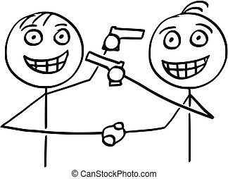 Vector Cartoon of Two Men Handshaking, Smiling and Pointing Guns at Each Other