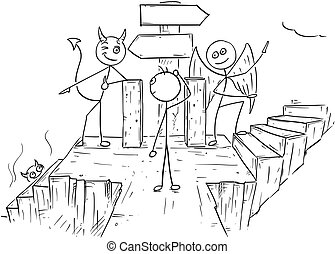 Vector Cartoon of Angel and Devil Showing Man Two Ways to Hell And Heaven with Empty Arrow Signs