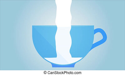 Milking cup of milk - The cup is filled with milk, an...