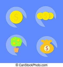 Coin icons with tree coin and bag coin and harmony background