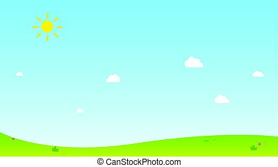 Hill with sun and sky background vector