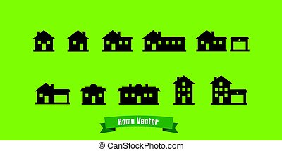 home silhouette icons with text ribbon and green background