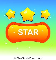Cute stars on shape text box and blink stars with colorful night shade background