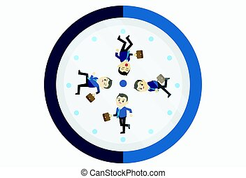 Busy businessman running on the clock.Young businessman running clockwise. Concept of deadline and busy time. Vector flat design illustration.