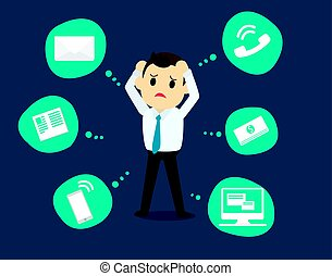 Businessman stress pressure, business mental issues, concept vector icons with pictogram computer,money,news,telephone call,e-mail. Pressure mental and depression