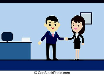 Business man and business woman shaking hands in meeting room vector illustration