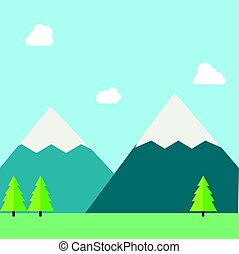 Flat natural vector illustration with mountains,forests,field and sky