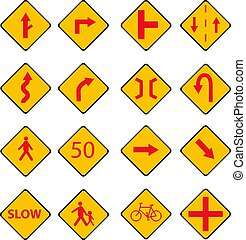 Set Traffic red signs illustration with street sign,bicycle sign,text sign,people sign isolated white background
