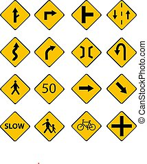 Set of traffic signs vector illustration with street signs,human sign and text sign and isolated white background