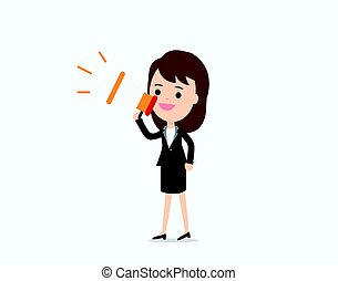Businesswoman announce with megaphone,promotion marketing concept.character talking loudspeaker vector illustration.
