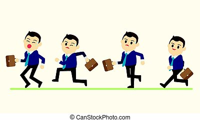 Business man in run action on green ground vector illustration