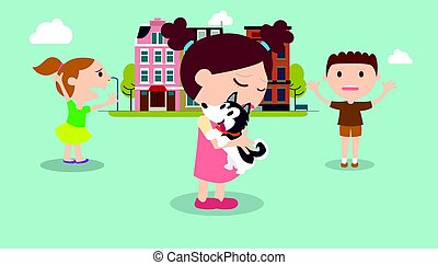 Kids find a dog in city with buildings background vector illustration