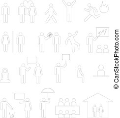 Outline sign of people life set.businessman group, work human pictograms on white.General people sign vector.
