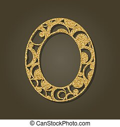 Gold letter O for laser cutting. English alphabet. Vector illustration.