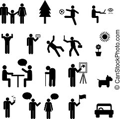 Sign of people life set.family group, work human pictograms on white.General people sign vector.