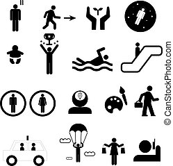 Sign of people life set.silhouette human activity, work human pictograms on white.General people sign vector.